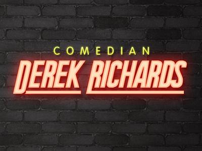 Title Card for DerekRichards.com typography comedian logo