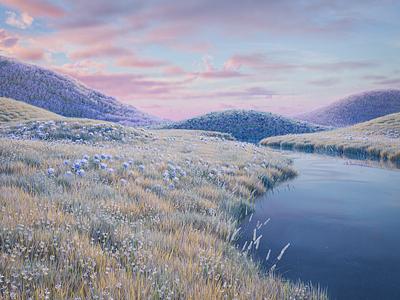 Lush landscape illustration 3d landscape