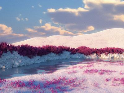 Bright octane cinema4d landscape illustration landscape 3d art 3d