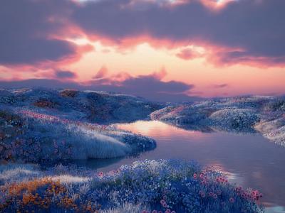 Edge of the World 3d artwork 3d artist octane cinema4d landscape illustration landscape 3d art 3d
