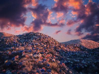 Golden Hour octane render cinema4d flowers 3d artist 3d art landscape 3d
