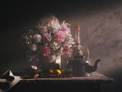 Daybreak floral flowers still life octane cinema4d 3d art 3d