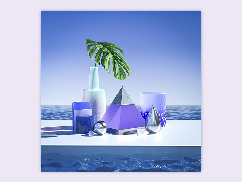 Summer Time ocean water glass plant monstera sss summer