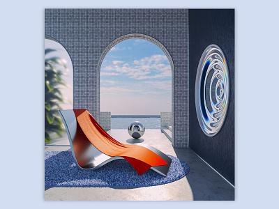 Portal illustration 3d water chair mirror warm summer