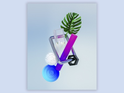 A Simple Arrangement 3d artist 3d art illustration green purple blue glass leaf 3d