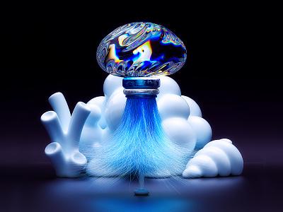 GlassJellyTwo jellyfish iridescent glass illustration black blue 3d