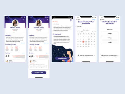 Catalyst App Design - Profile & Scheduling calendar schedule profile mobile graphic design logo illustration ux ui redesign design branding app