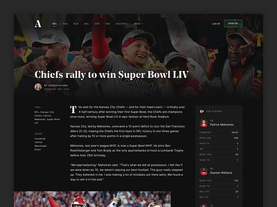 Sports Article Concept nfl chiefs superbowl sports article web clean ui