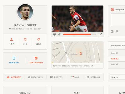 UI Kit ui ui kit clean web menu interface button jack wilshere arsenal