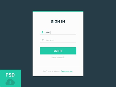Sign In Modal ui sign in psd freebie clean button modal blue green free