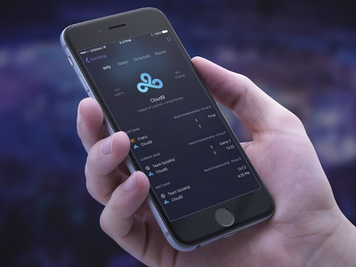 Team Page ios mobile interface c9 cloud9 esports dark ui