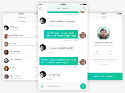 Chat UI contacts profile green chat clean ios interface ui