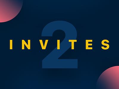 Two Invites yellow blue invitation invite invitations invites two