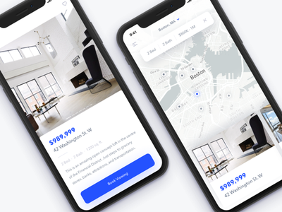 Househunting iphone iphone x app mobile ios apartment house real estate ui white clean