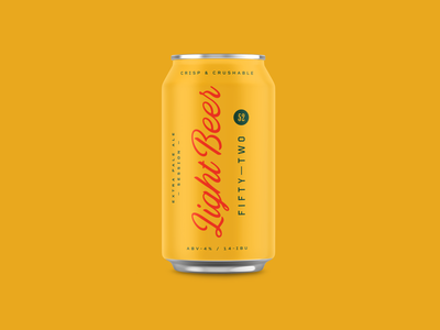 Fifty—Two Light Beer brewing beer can branding packaging typography