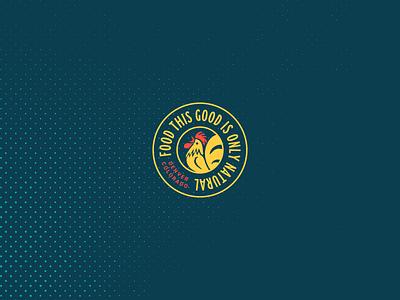 Natural Fried Chicken restaurant chicken illustration icon typography logo branding