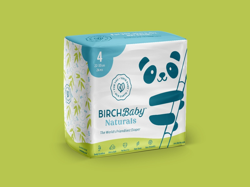 Diaper Packaging illustration birch baby bamboo eco packaging diaper