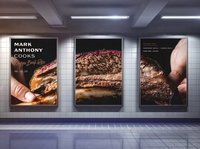 Mark Anthony Cooks Ad cooking ribs transit subway mockup personal chef bbq food restaurant logo branding