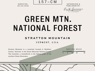 Map No. 157-CM notera franklin gothic founders grotesk sweet sans titling gothic bureau grotesque vermont topography vintage map typography