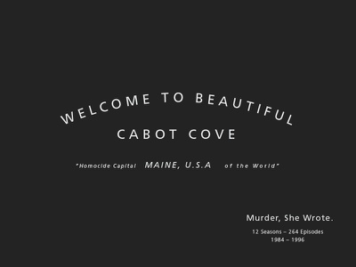Type Mondays - Cabot Cove frutiger cabot cove murder ocean typography