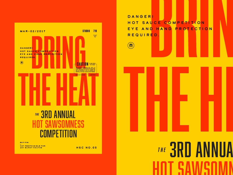 Bring the Heat vintage yellow spicy warning competition caution hot sauce