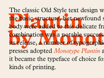 Plantin monotype printing vintage typography plantin