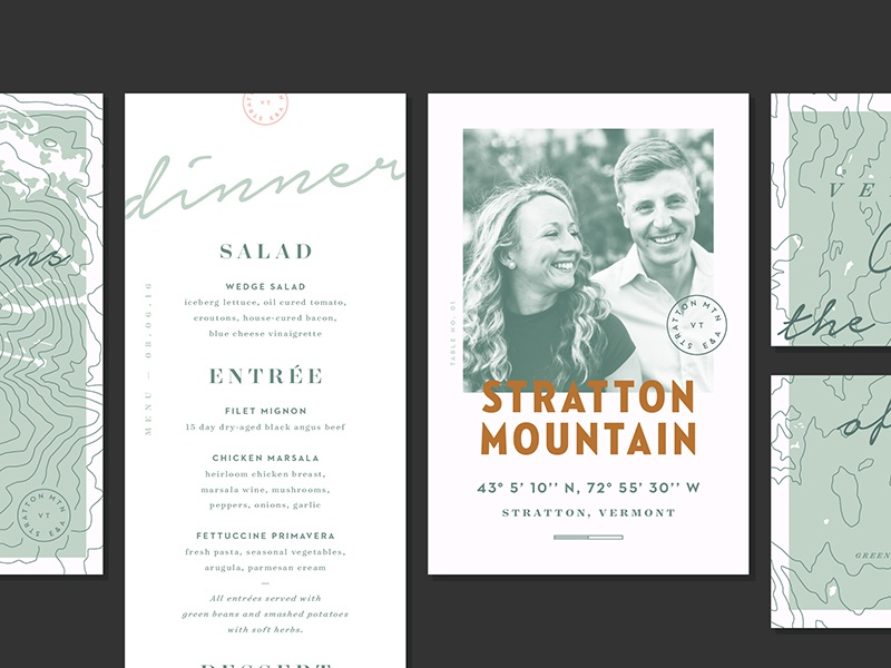 1 Year! map topography mountain stratton stationary wedding