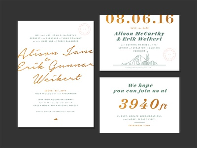 Invite, STD and RSVP map topography mountain stratton stationary wedding