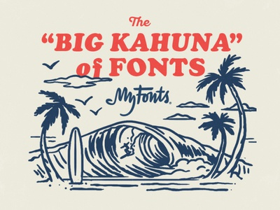 MyFonts Surf Advertisement 01 waves beach ocean surf illustration typography fonts myfonts