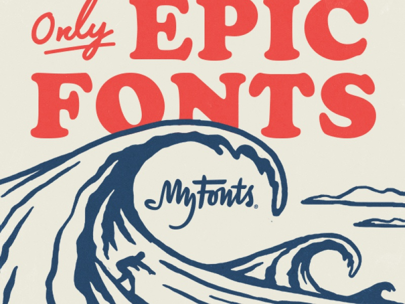 Only Epic Fonts waves beach ocean surf illustration typography fonts myfonts