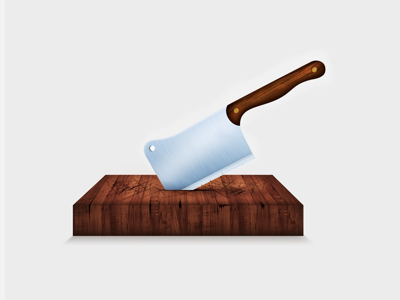 Cleaver sketch cleaver illustration texture graphic element 3d chopping board wood andreas knutsson metal vintage