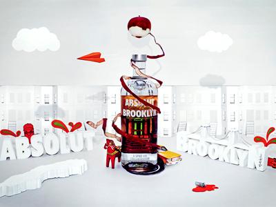 Absolut Brooklyn absolut brooklyn tactile illustration vodka crafts paper