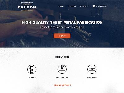 Falcon Sheet Metal website icons branding vintage simple grunge texture