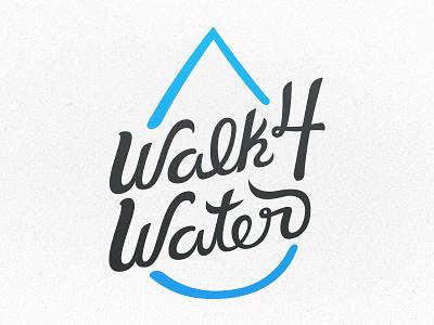 Walk4water handwritten type typography lettering water vector charity walk