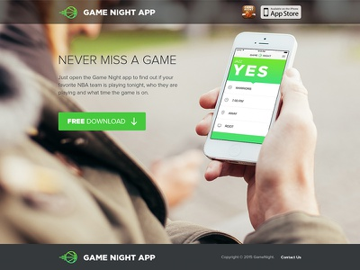 Game Night Website basketball game iphone app icon website simple free nba landing page direct response