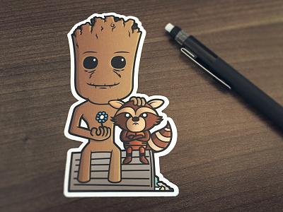 Groot & Rocket Sticker groot rocket marvel raccoon tree sticker guardians of the galaxy