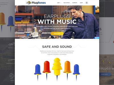 Plugfones Website web website music headphones earplugs illustration render web design