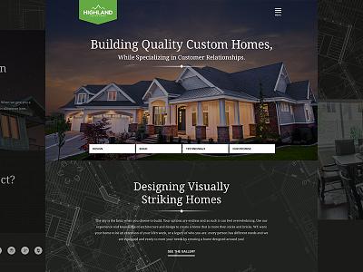 Highland Custom Homes web design branding hamburger custom homes logo website web