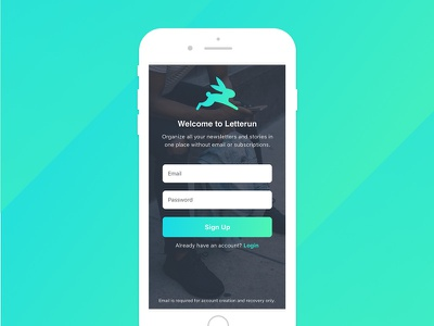 Letterun Sign Up ux ui mobile iphone ios icon branding app android