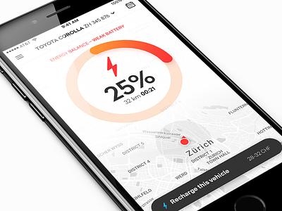 App Concept app ios iphone graph on demand ui progress chart map battery electric car energy