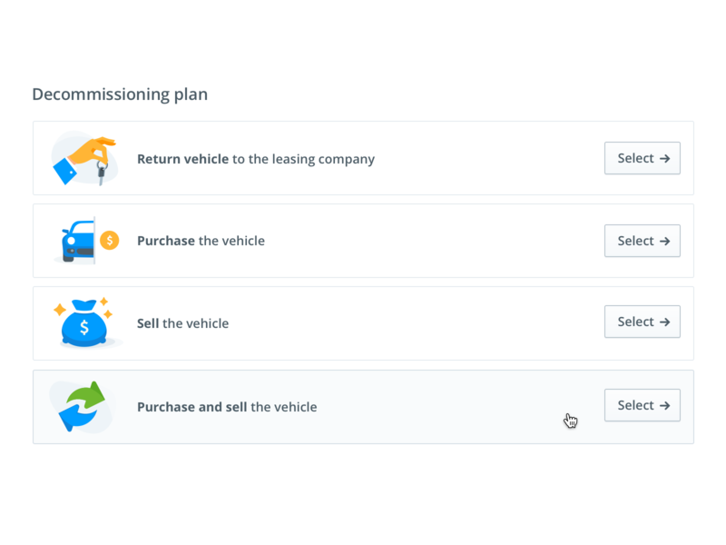 Vehicle decommissioning plan simplicity interaction ui multiple choice avrios transportation icons illustration select mobility list
