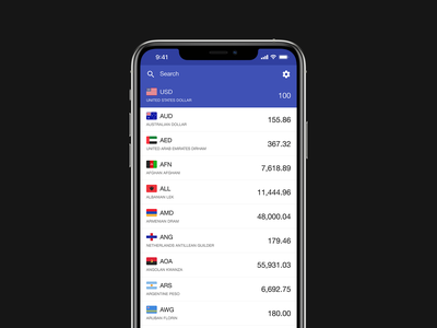 Currencies Converter – Exchange Rate, Cash Calculator interaction design user experience user interface clean converter finance currencies application iphone ios