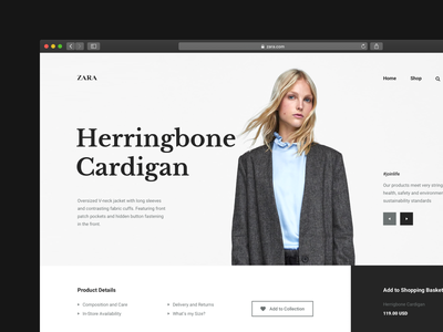 Zara Concept ui interface typography clean contemporary video animation web mobile storefront shop store conversion landing e-commerce fashion