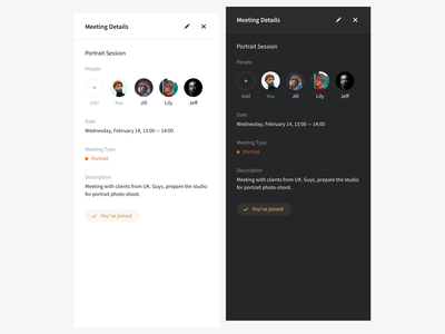 Rushmore — Meeting details schedule details event meeting application ios app confident dashboard contemporary e-commerce minimalism interface ux ui clean dark mode mobile fonts typography