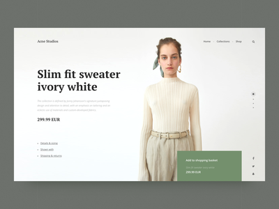 Acne Studios — Product view grid magazine pastel landing minimalism interface item product details store promo fashion shopping shop e-commerce typography ux contemporary clean ui