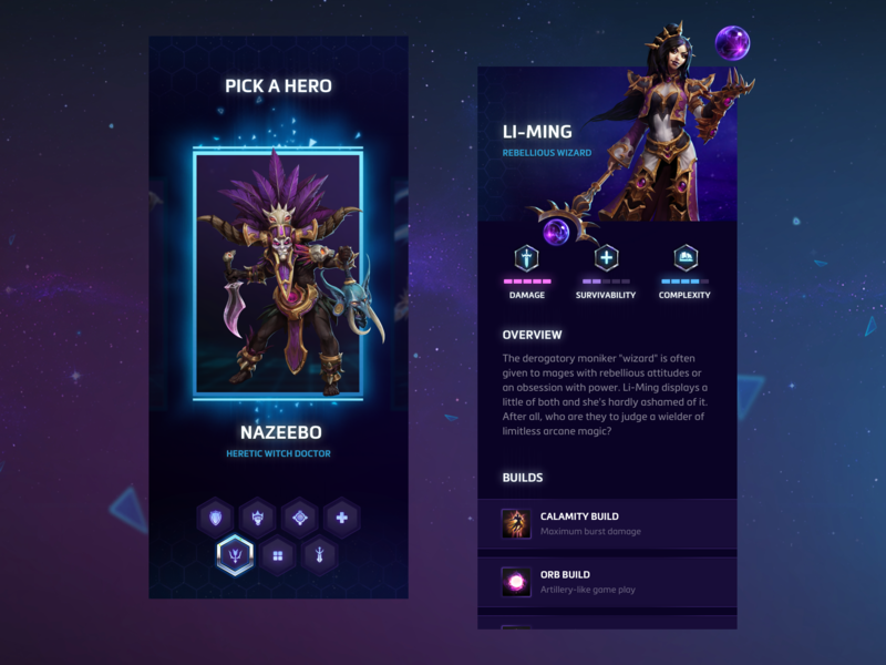Icy Veins Concept - Heroes Of The Storm interface ios nexus moba hots play application app ux contemporary ui mobile hearthstone overwatch warcraft diablo starcraft game blizzard heroes of the storm