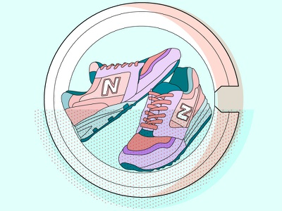 Shoes in a Washing Machine washing machine new balance illustration vectorart outlines dots sneaker washing shoes