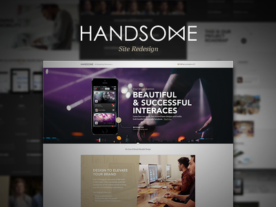 Handsome Marketing Site Cont ios7 marketing clean flat modern download dashboard mobile layout dark light masthead