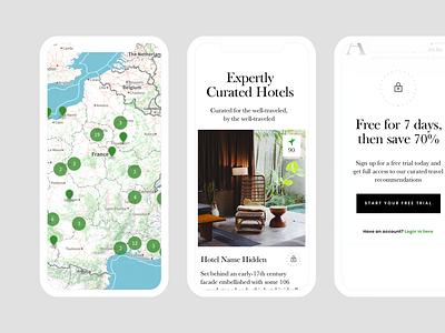 Hideaway Report Mobile branding travel marketing site mobile handsome