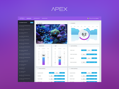 Dashboard - Apex Aquarium System  ios7 dashboard clean flat modern download mobile layout dark light masthead